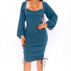 NWT gorgeous ruched long sleeve dress